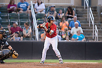 Alex Call (2) of the Kannapolis Intimidators at bat against the West Virginia Power at Kannapolis Intimidators Stadium on August 20, 2016 in Kannapolis, North Carolina.  The Intimidators defeated the Power 4-0.  (Brian Westerholt/Four Seam Images)