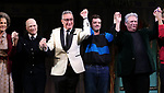 """Mercedes Ruehl, Richie Jackson, Moises Kaufman, Michael Urie and Harvey Fierstein  during the Broadway Opening Night Curtain Call for """"Torch Song"""" at the Hayes Theater on November 1, 2018 in New York City."""