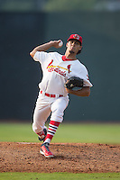 Johnson City Cardinals relief pitcher Juan Caballero (27) in action against the Bristol Pirates at Howard Johnson Field at Cardinal Park on July 6, 2015 in Johnson City, Tennessee.  The Pirates defeated the Cardinals 2-0 in game one of a double-header. (Brian Westerholt/Four Seam Images)