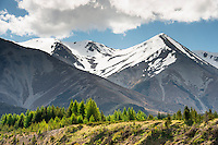 Southern Alps on Arthurs Pass road near Castle Hill in Canterbury, South Island, New Zealand