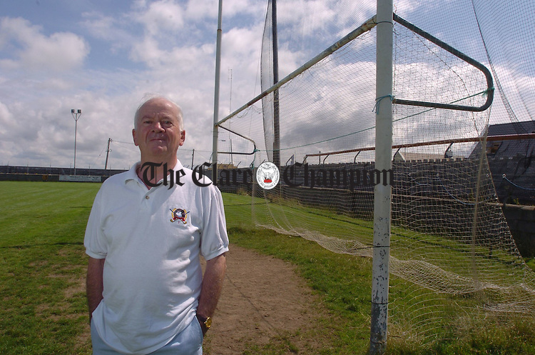 Tommy Flynn pays a visit to the football field in Miltown where he played as a youth. It's his first time home since he emigrated to the U.S.A  fifty years ago. Photograph by John Kelly.