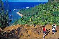 Views of Kee Beach highlight this stretch of the Kalalau Trail, Na Pali Coast, Kauai