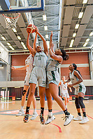 Serena-Lynn Geldof (23) of Belgium , Oderah Chidom (22) of Nigeria , Amy Okonkwo (0) of Nigeria pictured during a basketball game between the national teams of Belgium , called the Belgian Cats , and Nigeria on Sunday 30 th of May 2021 in Kortrijk , Belgium . PHOTO SPORTPIX.BE | SPP | STIJN AUDOOREN