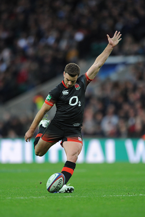 George Ford of England takes a conversion kick during the Old Mutual Wealth Series match between England and Argentina at Twickenham Stadium on Saturday 11th November 2017 (Photo by Rob Munro/Stewart Communications)