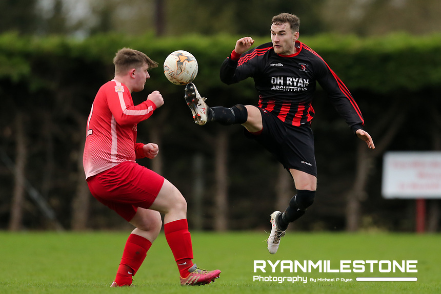 EVENT:<br /> TSDL Premier Division<br /> Two Mile Borris v Peake Villa<br /> Sunday 5th January 2020<br /> Newhill, Littleton, Co Tipperary<br /> <br /> CAPTION:<br /> Stephen Carroll of Peake Villa in action against Caolan O'Brien of Two Mile Borris<br /> <br /> Photo By: Michael P Ryan