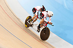 MILTON, ON, AUGUST 10, 2015. Cycling at the Velodrome. Canadians Shawna Ryan & Joanie Caron (BW),<br /> Photo: Dan Galbraith/Canadian Paralympic Committee