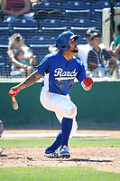 Jared Walker (9) of the Rancho Cucamonga Quakes bats against the Stockton Ports at LoanMart Field on May 28, 2017 in Rancho Cucamonga, California. Stockton defeated Rancho Cucamonga, 7-4. (Larry Goren/Four Seam Images)