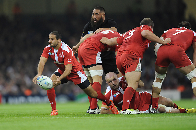 Giorgi Begadze of Georgia passes during Match 23 of the Rugby World Cup 2015 between New Zealand and Georgia - 02/10/2015 - Millennium Stadium, Cardiff<br /> Mandatory Credit: Rob Munro/Stewart Communications