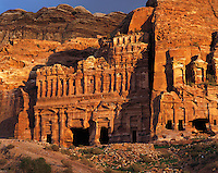 "Warm evening light on the ""Royal"" tombs carved into the rock-walls of Petra, Jorda"