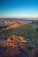 Salisbury Crags, Edinburgh and the Firth of Forth from Arthur's Seat, Edinburgh, Lothian