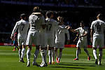 Real Madrid´s players celebrates a goal during 2014-15 La Liga match between Real Madrid and Granada at Santiago Bernabeu stadium in Madrid, Spain. April 05, 2015. (ALTERPHOTOS/Luis Fernandez)