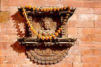 Window Festooned with Marigolds at Bhaktapur, Nepal
