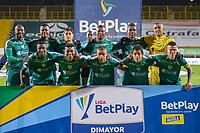 BOGOTA - COLOMBIA, 25-04-2021: Jugadores de Equidad posan para una foto previo al partido entre La Equidad y Atletico Nacional por los cuartos de final, ida, como parte de la Liga BetPlay DIMAYOR I 2021 jugado en el estadio Estadio Metroplitano de Techo de la ciudad de Bogotá. / Players of Equidad pose to a photo prior match between La Equidad and Atletico Nacional for the quarterfinal first leg as part of BetPlay DIMAYOR League I 2021 played at Metropolitano de Techo stadium in Bogota city. Photo: VizzorImage / Samuel Norato / Cont