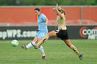 Yael Averbuch (13) of Sky Blue FC passes the ball. FC Gold Pride defeated Sky Blue FC 1-0 during a Women's Professional Soccer (WPS) match at Yurcak Field in Piscataway, NJ, on May 1, 2010.
