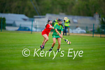 Áine O'Connor get her shot away despite the challenge from Tara Sheehan of Cork in the Munster Junior Camogie semi final.