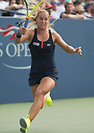 Dominika Cibulkova (SVK) battles to a tie-breaker against Eugenie Bouchard (CAN)  6-6 at the US Open in Flushing, NY on September 4, 2015.