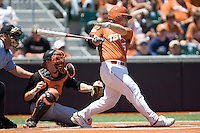Texas Lonhorn  DH Russell Moldenhauer hits against Oklahoma State on Sunday April 25th, 2010 at UFCU Dish-Falk Field in Austin, Texas.  (Photo by Andrew Woolley / Four Seam Images)