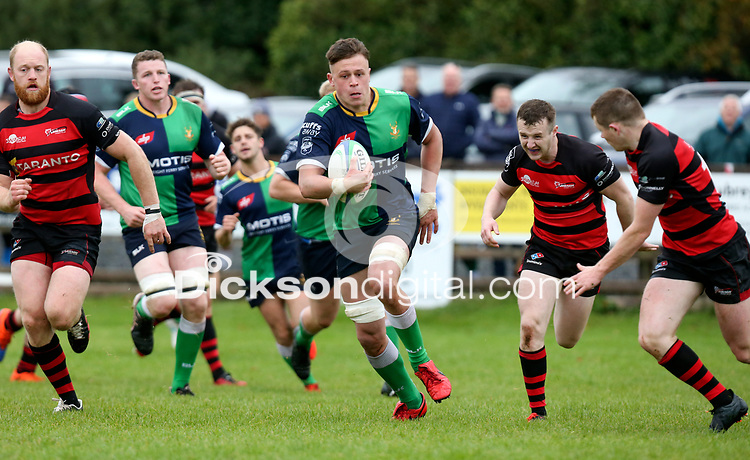 Saturday 3rd October 2020   Hinch vs Armagh<br /> <br /> Bradley Luney on the attack for Ballynahinch during their Ulster Senior League clash against Armagh at Ballymacarn Park, Ballynahinch, County Down, Northern Ireland. Photo by John Dickson / Dicksondigital