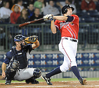 12 April 2008: Infielder Greg Creek (25) of the Mississippi Braves, Class AA affiliate of the Atlanta Braves, in a game against the Mobile BayBears at Trustmark Park in Pearl, Miss. Photo by:  Tom Priddy/Four Seam Images