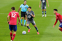 ST PAUL, MN - SEPTEMBER 9: Hassani Dotson #31 of Minnesota United FC dribbles through traffic during a game between FC Dallas and Minnesota United FC at Allianz Field on September 9, 2020 in St Paul, Minnesota.