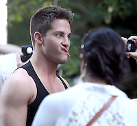 August 12, 2012 Dean Geyer shooting on location for  Glee at City Hall Park  in New York City.Credit:© RW/MediaPunch Inc. /NortePHOTO.com