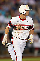 North Carolina State designated hitter Jake Armstrong (23) runs to first base against the UCLA Bruins during Game 8 of the 2013 Men's College World Series on June 18, 2013 at TD Ameritrade Park in Omaha, Nebraska. The Bruins defeated the Wolfpack 2-1, eliminating North Carolina State from the tournament. (Andrew Woolley/Four Seam Images)