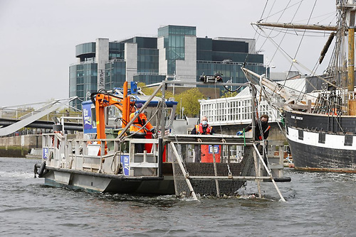 """""""Whither, O Splendid Ship…..?"""" If Handsome is as Handsome does, then the totally purpose-designed Liffey Sweeper is a very handsome vessel indeed. Photo: Conor McCabe"""