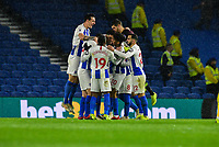 Leon Balogun of Brighton & Hove Albion (14)  Celebrates scoring his sides 2nd goal Celebrates with team mates ,during the Premier League match between Brighton and Hove Albion and Crystal Palace at the American Express Community Stadium, Brighton and Hove, England on 4 December 2018. Photo by Edward Thomas / PRiME Media Images.