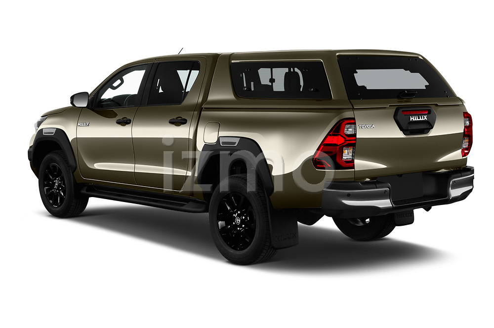 Car pictures of rear three quarter view of 2021 Toyota Hilux Invincible 4 Door Pick-up Angular Rear