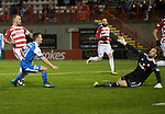 Hamilton Accies v St Johnstone…09.12.17…  New Douglas Park…  SPFL<br />Stefan Scougall puts the ball past Gary Woods to score for saints<br />Picture by Graeme Hart. <br />Copyright Perthshire Picture Agency<br />Tel: 01738 623350  Mobile: 07990 594431