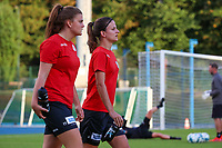 Essevee's Tine Lemmens (17) (left0 and Essevee's Amber De Priester (6) (right) pictured before a female soccer game between FC Femina White Star Woluwe and Dames Zulte Waregem  on the first matchday of the 2020 - 2021 season of Belgian Women's SuperLeague , Friday 28 of August 2020  in Sint Lambrechts Woluwe , Belgium . PHOTO SPORTPIX.BE | SPP | SEVIL OKTEM