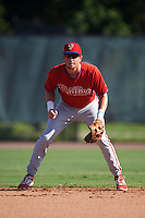 Philadelphia Phillies Cole Stobbe (7) during an Instructional League game against the Toronto Blue Jays on October 1, 2016 at the Carpenter Complex in Clearwater, Florida.  (Mike Janes/Four Seam Images)