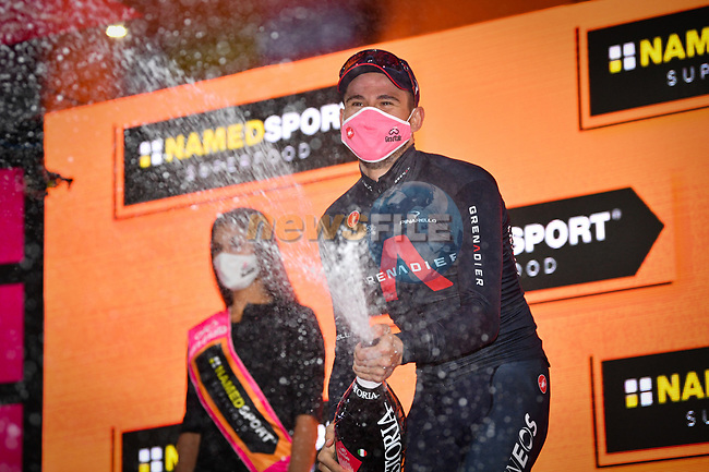 Filippo Ganna (ITA) Ineos Grenadiers wins solo Stage 5 of the 103rd edition of the Giro d'Italia 2020 running 225km from Mileto to Camigliatello Silano, Sicily, Italy. 7th October 2020.  <br /> Picture: LaPresse/Massimo Paolone | Cyclefile<br /> <br /> All photos usage must carry mandatory copyright credit (© Cyclefile | LaPresse/Massimo Paolone)