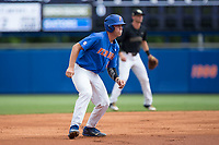 JJ Schwarz (22) of the Florida Gators takes his lead off of second base against the Wake Forest Demon Deacons in Game Three of the Gainesville Super Regional of the 2017 College World Series at Alfred McKethan Stadium at Perry Field on June 12, 2017 in Gainesville, Florida. The Gators defeated the Demon Deacons 3-0 to advance to the College World Series in Omaha, Nebraska. (Brian Westerholt/Four Seam Images)