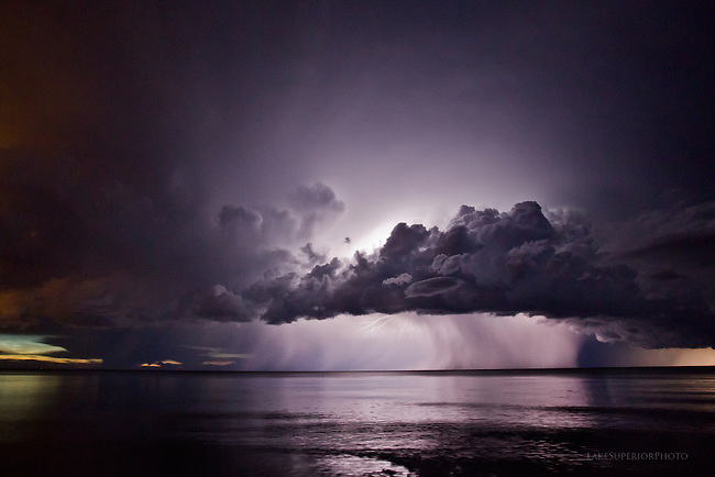 storm clouds, lightning, Lake Superior