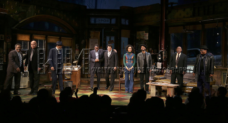 Ray Anthony Thomas, Keith Randolph Smith, Anthony Chisholm, John Douglas Thompson, Brandon J. Dirden, Carra Patterson, Andre Holland, Michael Potts, Harvy Blanks during August Wilson's 'Jitney' Broadway opening night curtain call at Samuel J. Friedman Theatre on January 19, 2017 in New York City.