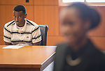 Lamar High School student Christian Smith participates in a mock trail at the Harris County Civil Courthouse, July 30, 2014.