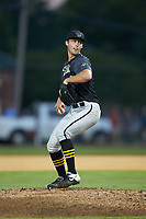 Wilson Tobs starting pitcher Mitch Myers (9) (University of Pittsburgh) in action against the High Point-Thomasville HiToms at Finch Field on July 17, 2020 in Thomasville, NC. The Tobs defeated the HiToms 2-1. (Brian Westerholt/Four Seam Images)