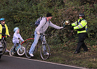 Pictured: Local people leaving floral tributes near the scene where the body of Rebecca Aylward was discovered. Monday 25 October 2010<br /> Re: 15 year old Rebecca Aylward has been found murdered in woodlands near Aberkenfig south Wales. Two fifteen year old men have been arrested. Aylward was originally from nearby Maesteg.