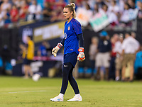 CHARLOTTE, NC - OCTOBER 3: Ashlyn Harris #18 of the United States warms up during a game between Korea Republic and USWNT at Bank of America Stadium on October 3, 2019 in Charlotte, North Carolina.