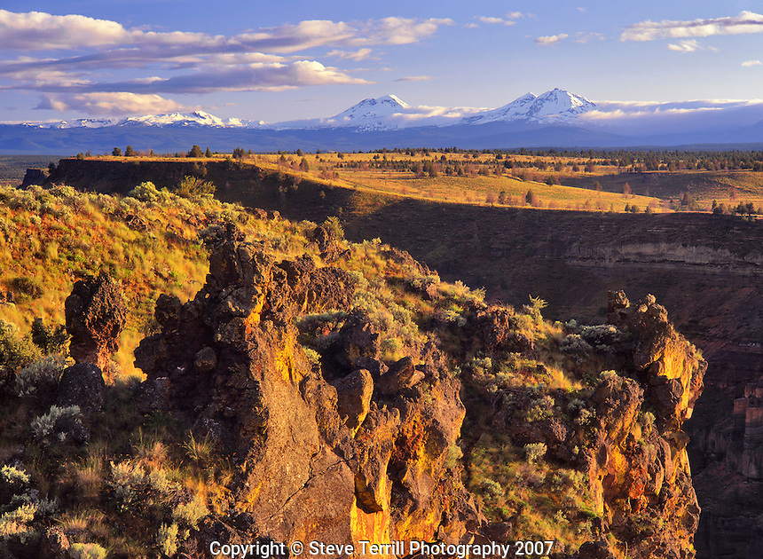 Three Sisters viewed from Deschutes Canyon Overlook in Jefferson County, Oregon