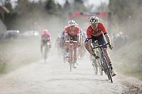 Heinrich Haussler (DEU/Bahrain Merida) keeping the focus on the cobbles.<br /> <br /> <br /> 116th Paris-Roubaix (1.UWT)<br /> 1 Day Race. Compiègne - Roubaix (257km)