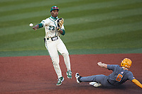 Gino Groover (23) of the Charlotte 49ers makes a throw to first base after forcing out Evan Russell (6) of the Tennessee Volunteers at second base at Hayes Stadium on March 9, 2021 in Charlotte, North Carolina. The 49ers defeated the Volunteers 9-0. (Brian Westerholt/Four Seam Images)