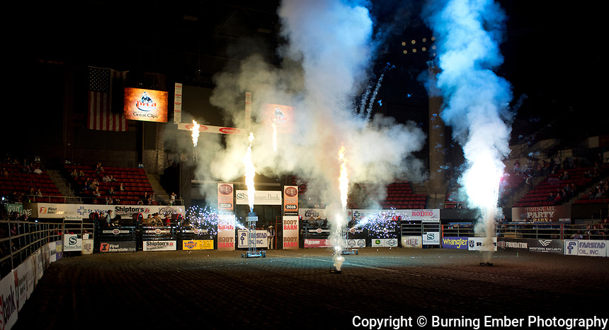 Opening Pyros at the NILE PRCA 1st perf Event. October 18th, 2018.  Photo by Josh Homer/Burning Ember Photography.  Photo credit must be given on all uses.