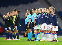21st September 2021; Hampden Park, Glasgow, Scotland: FIFA Womens World Cup qualifying, Scotland versus Faroe Islands; Faroe Islands players line up for their national anthem