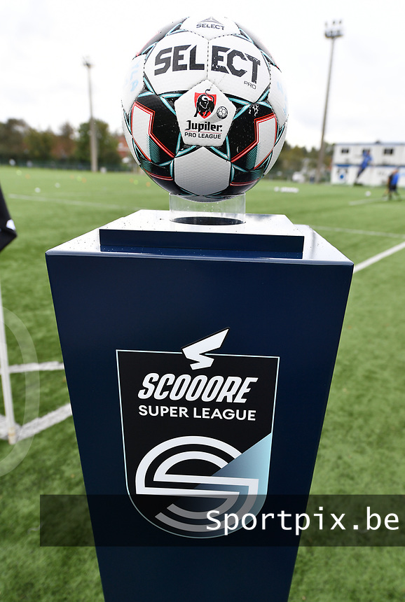 illustration picture showing the super league ball holder during a female soccer game between Club Brugge Dames YLA and Zulte Waregem Ladies on the third matchday of the 2020 - 2021 season of Belgian Scooore Womens Super League , saturday 3 October 2020  in Brugge , Belgium . PHOTO SPORTPIX.BE | SPP | DAVID CATRY