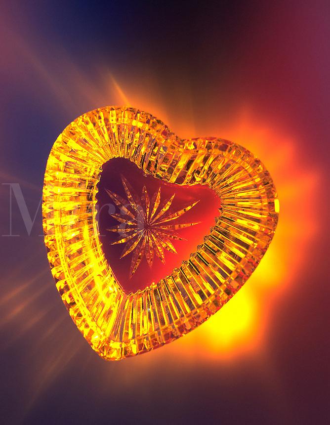 Glowing glass valentine heart.