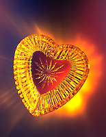 Glowing glass valentine heart.