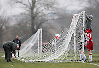 Mustard players put up the goal nets prior to kick-off - Hackney & Leyton League at South Marsh, Hackney - 07/02/10 - MANDATORY CREDIT: Gavin Ellis/TGSPHOTO - Self billing applies where appropriate - Tel: 0845 094 6026