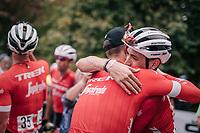 race winner Jasper Stuyven (BEL/Trek-Segafredo) getting a hug from teammate Michael Gogl (AUT/Trek-Segafredo) after finishing<br /> <br /> 59th Grand Prix de Wallonie 2018 <br /> 1 Day Race from Blegny to Citadelle de Namur (BEL / 206km)